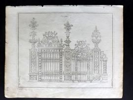 Langley 1777 Antique Architectural Print. Iron Gates 184.